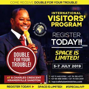 Register Login Pastor Alph Lukau International Visitors Program